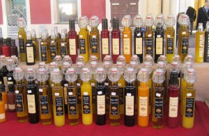Local olive oils sold at the flower market in Nice.