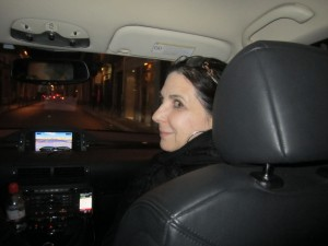 Karen riding in style - clearly happy with her ride!
