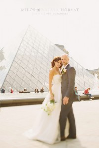 Iconic pyramid in the background for this bride and groom. Amazing that they look like the only two people there!