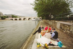 Kim also plans unconventional casual wedding celebrations like this one along the Seine.
