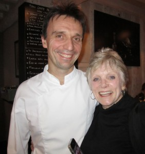 Sharon with Chef François from L'Epi Dupin. I took her there to celebrate her being a fantastic flight attendant in 2012.