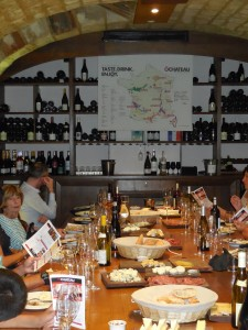 The wine tasting cave where family style eating and tasting makes for a fun atmosphere