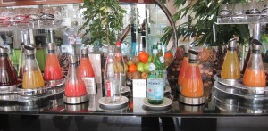 Fresh squeezed juices served in gorgeous art deco glasses make everything taste sweeter!
