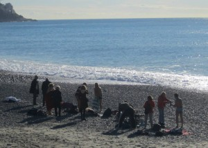 Members of the local Polar Bear Club prepare for a chilly January swim