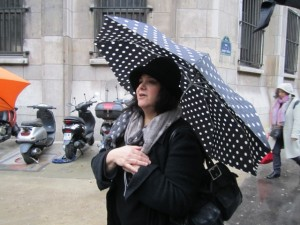 Our Context Travel docent leading our foodie tour in the rain