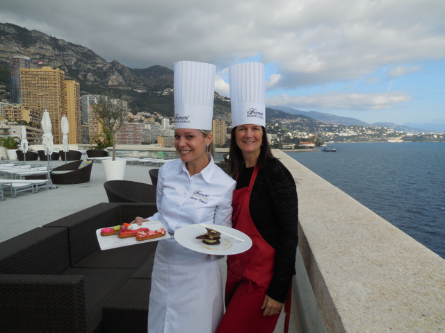 Chef Claire Verneil et moi on the pool deck of the Fairmont in Monaco