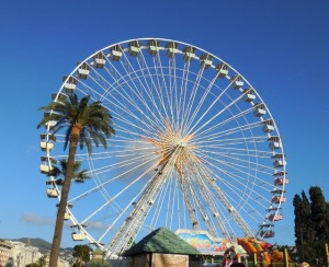 Beautiful ferris wheel against the clear blue skies of Nice