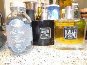 Hawaiian black salt, spray bottle oil and vinegar dress up any dish easily.