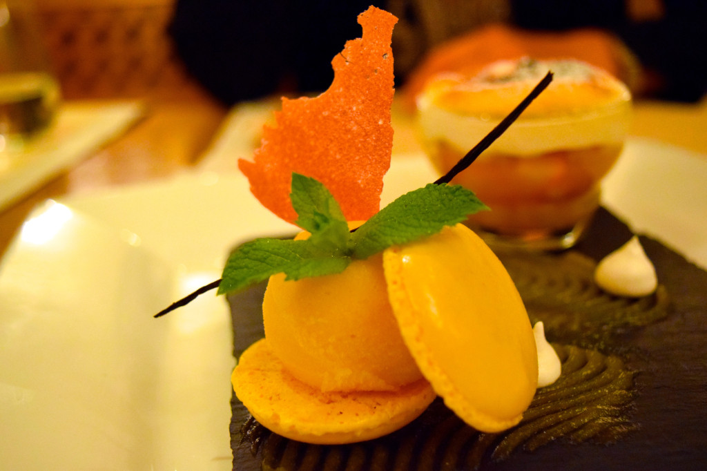 Apricot dessert at the restaurant at Hotel Mont Cervin Palace