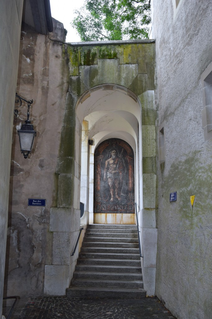 Hidden art in a passageway from the Cathedral down to the shopping district.