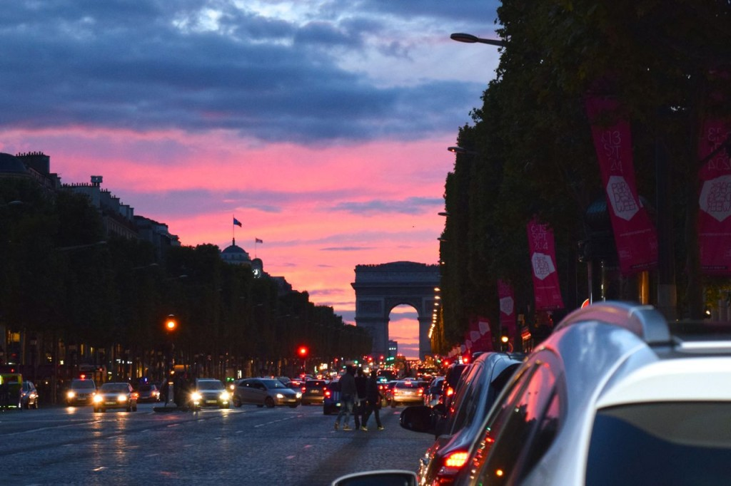 Sunset over the Arc de Triomphe