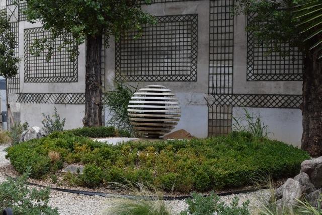Modern fountain blends in well
