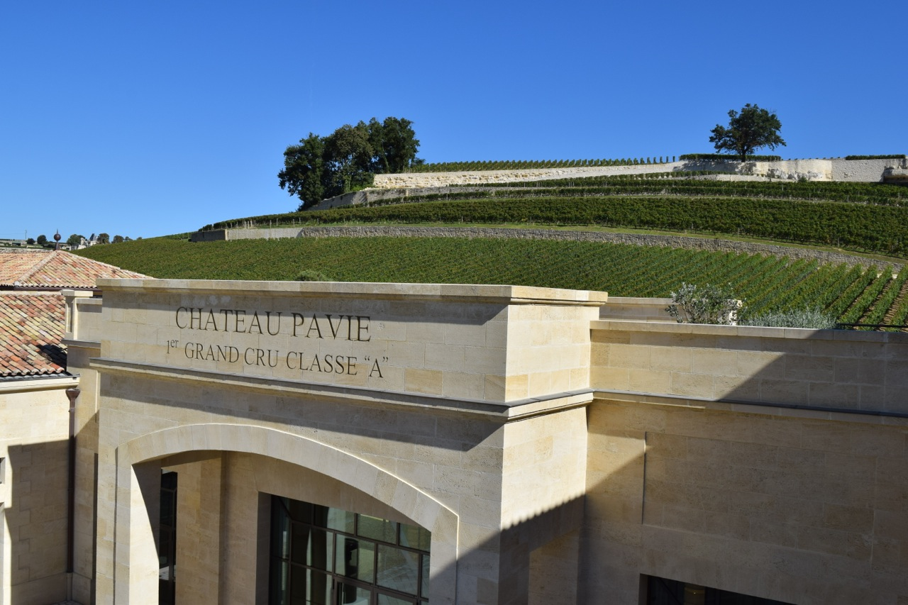 Château Pavie vines overlooking the château